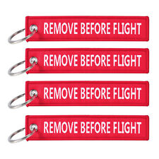 5pcs Remove Before Flight Key Chain Luggage Tag Zipper Woven Keychain Embroidery