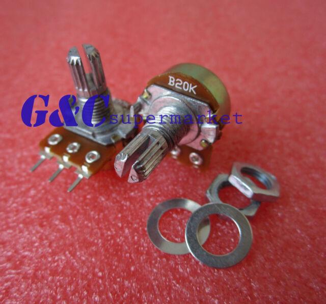 10K Ohm B10K Knurled Shaft Linear Rotary Taper Potentiometer
