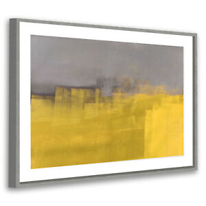 Retro-Grey-Yellow-Modern-Abstract-Framed-Wall-Art-Large-Picture-Prints