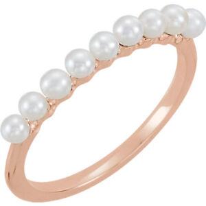 Fine Jewelry Fine Rings 100% True Süßwasser Gezüchtete Perle Stapelbar Ring In 14k Rosegold Durable Modeling