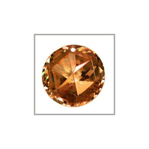 Cubic Zirconia Star Round Pendant Bead 18mm Red Brown #64415