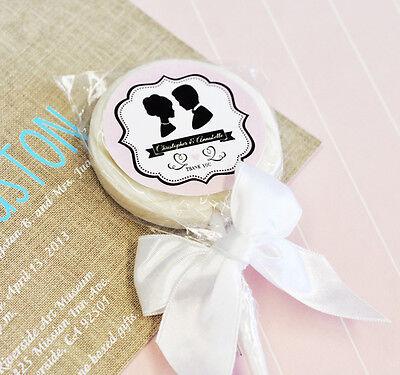 48 Modern Monogram Lollipops Personalized Lollipop Wedding Bridal Shower Favors