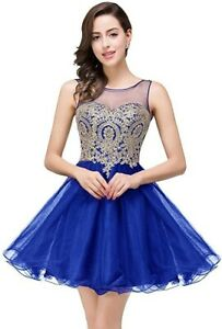 Short Tulle Dress with Gold Applique for Homecoming Prom Birthday Dama Party