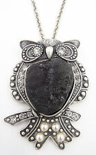 Unique New Owl Pendant Necklace with Black Agate Stone Body & Rhinestones #N1090