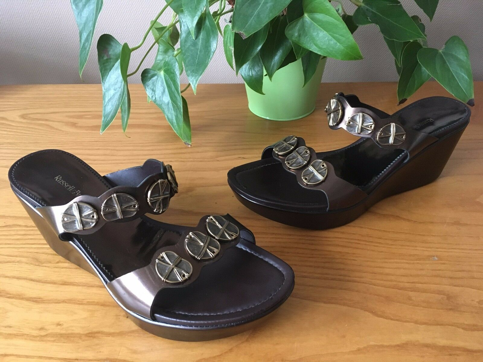 Russell & Bromley bronze leather embellished slip on wedge sandals UK 6 EU 39