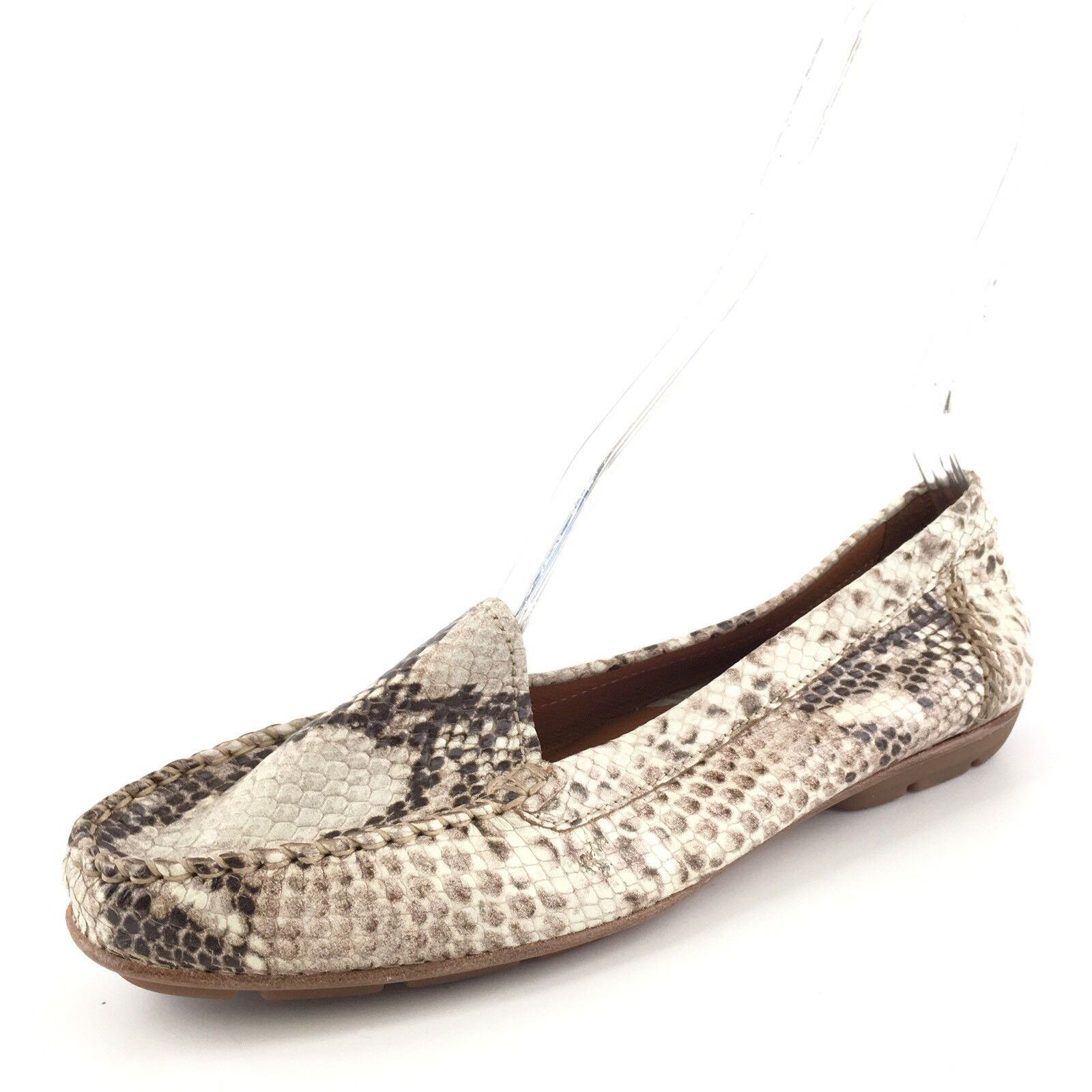 GEOX Respira Snake Print Leather Casual Slip On Loafers Women's Size 39.5 M