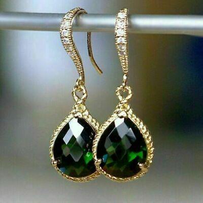 Details about  /2Ct Pear Cut Green Emerald /& Diamond Drop//Dangle Earrings 14K White Gold Finish