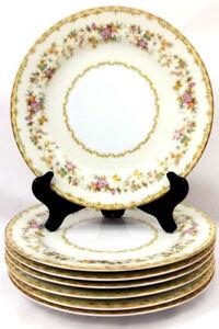 Set-of-7-Antique-Noritake-10in-Dinner-Plates-Columbine-Pattern-1930s