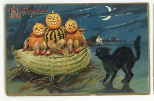 Black-Cat-Pumpin-People-Kids-Patch-Watermelon-HALLOWEEN-Vintage-Tuck-Postcard