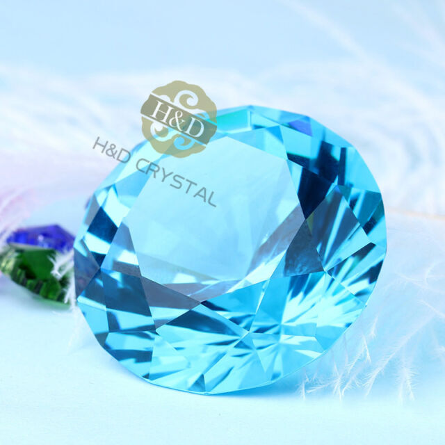 Sea Blue Crystal Glass Paperweight Faceted Cut Giant Diamond Jewel Decor