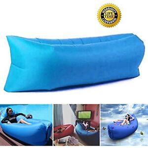 Inflatable Lounger - Portable Air Chair & Blow up Sofa with Headrest & Hold Air