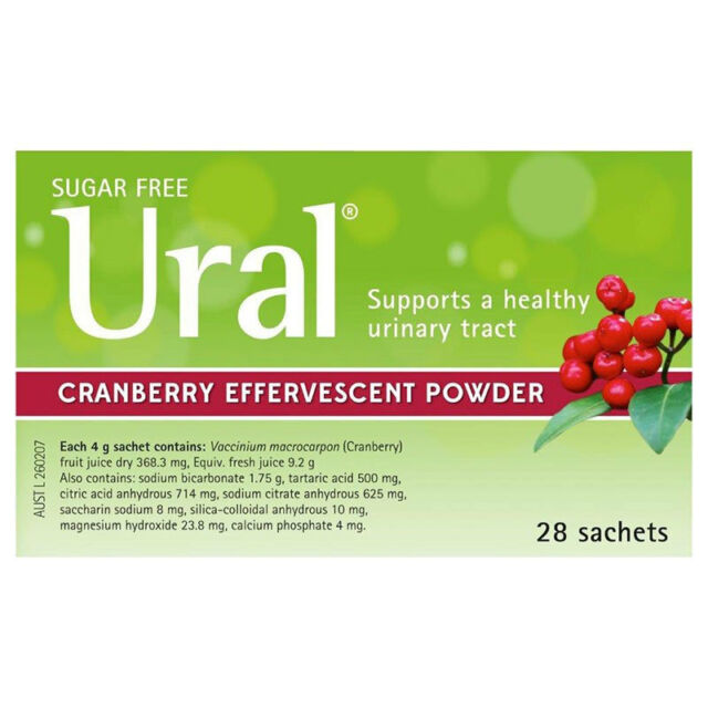 * URAL CRANBERRY EFFERVESCENT POWDER 4G 28 SACHETS URINARY ALKALINIZER CYSTITIS