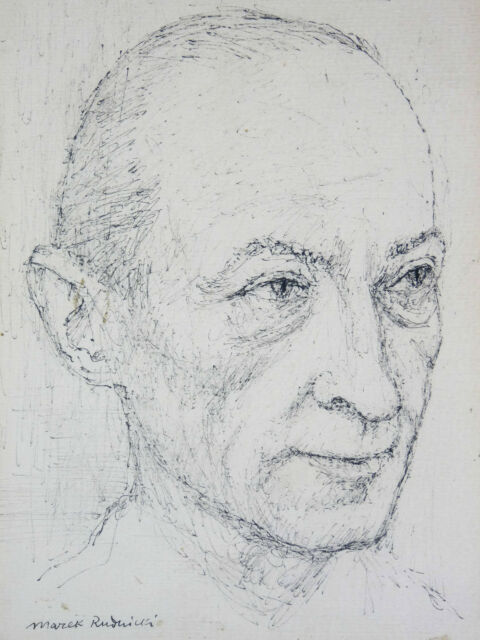 Marek Rudnicki (1927-2004) Portrait of Jean Picart le Doux .pologne Rubinstein