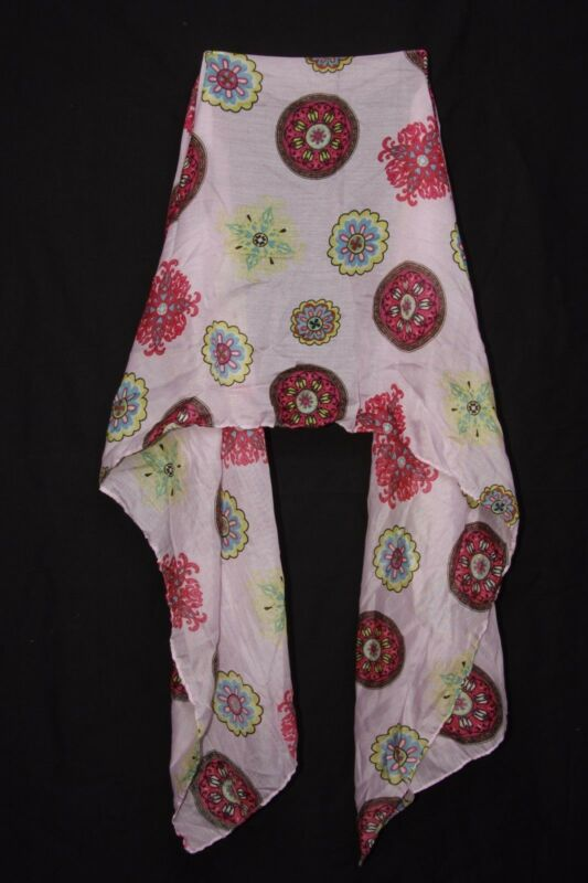 Baby Pink Fuchsia Chartreuse & Blue Futuristic Flower Print Ladies' Scarf S175a
