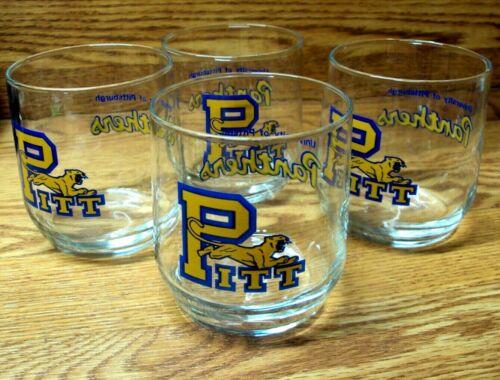 "Lot//4 PITT PANTHER University of Pittsburgh BEVERAGE SET Glass GLASSES 3 /& 3//4/"""