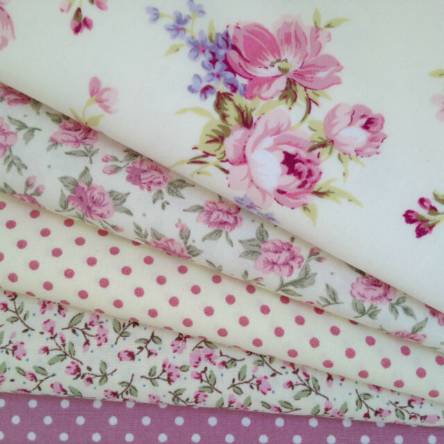 Bundle 5 fat quarters dusky pink ivory, floral roses, polka dot mix  100% cotton