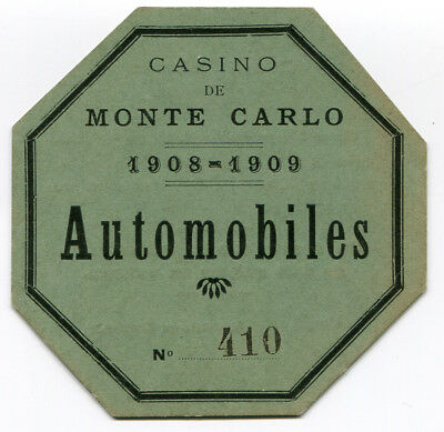 Practical Auto Automobiles Parkkarte Cassino De Monte Carlo 1908-1909 Commodities Are Available Without Restriction Automobilia