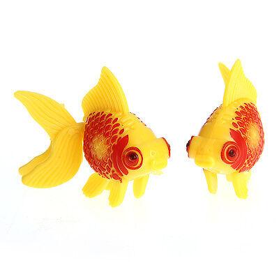 2x Aquarium Dekoration Kunstfisch Künstlicher Fisch Plastik Gelb+Rot Lebensecht