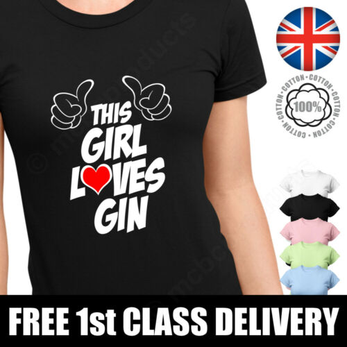 THIS GIRL LOVES GIN T-Shirt Ladies Womans Fit Top Slogan Graphic Tee T Shirt UK