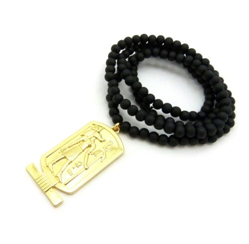 """NEW EGYPTIAN ANUBIS ANKH PENDANT 6mm//30/"""" WOODEN BEAD CHAIN NECKLACE RC2156G-WBK"""
