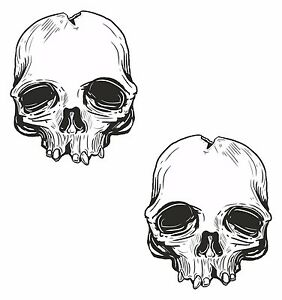 2x skull stickers for motorcycle gas tank car bumper helmet tablet