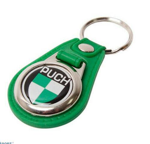 Porte Clé Cuir Vert avec Anneau et métal Puch Logo