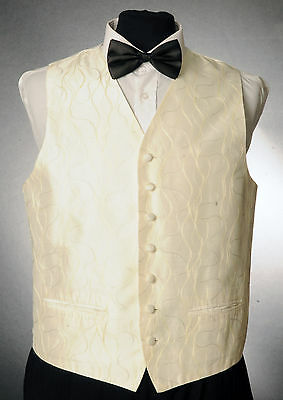 W - 1038.MENS/BOYS GOLD & SILVER WAVY STRIPED WAISTCOAT / DRESS/ SUIT / FORMAL