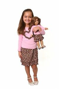 Girl 3t 4t and doll matching brown skirt outfit clothes american girl