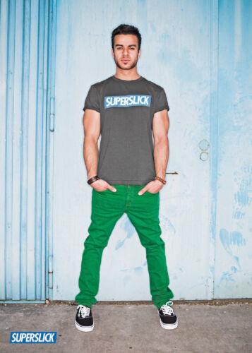 Superslick pantaloni verde TIGHT PANT STRETCH Slimfit pantaloni unisex donna uomo
