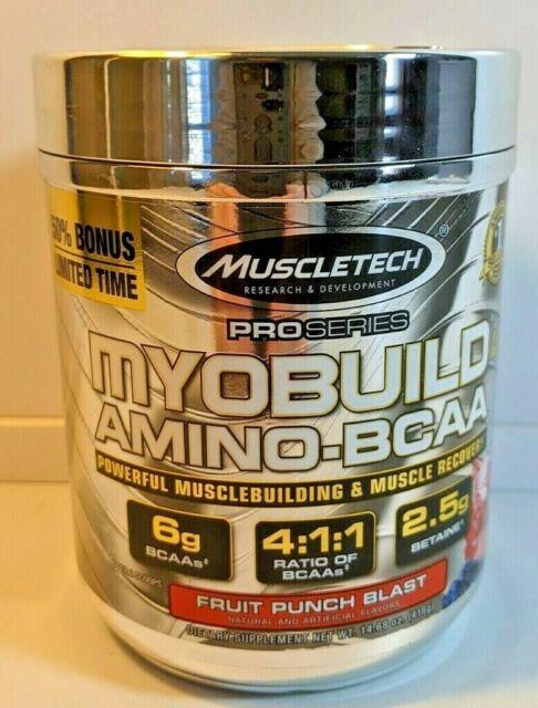 MYOBUILD 4x BCAA 4:1:1 Amino Acid Muscle Build & Recovery Fruit Punch Blast NEW