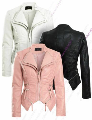 Womens Faux Leather Biker Jacket Pink White Black Coat Size 8 10 12 14 New