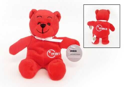 Plush Teddy Bear NWA Northwest Airlines  8 inches tall Retired Red RETIRED