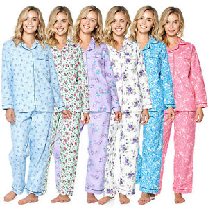 Casual-Nights-Women-039-s-Flannel-Long-Sleeve-Button-Down-Pajama-Set