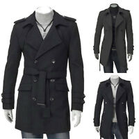Men's Winter Warm Double Breasted Trench Coat Long Coat Jacket Outwear Overcoat