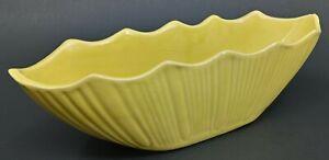 "Vintage Planter Pot Boat Box McCoy Pottery MCP 628 Yellow Ribbed 11"" USA"