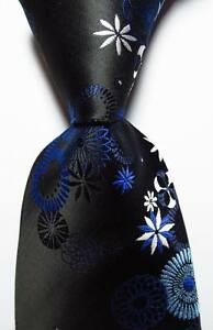 New-Classic-Floral-Black-Blue-White-JACQUARD-WOVEN-100-Silk-Men-039-s-Tie-Necktie
