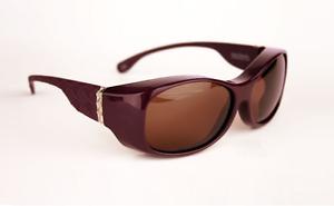 Solar Shield CROSS HATCH Women's POLARIZED Fits-Over Sunglasses PURPLE SILVER  L
