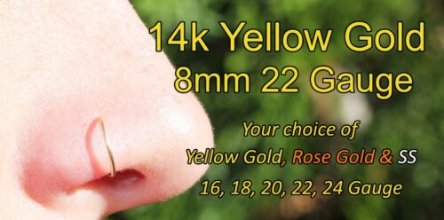 14K Yellow Gold Filled Nose Ring//Hoop Earring 20 Gauge 8mm Tragus//Helix//Endless