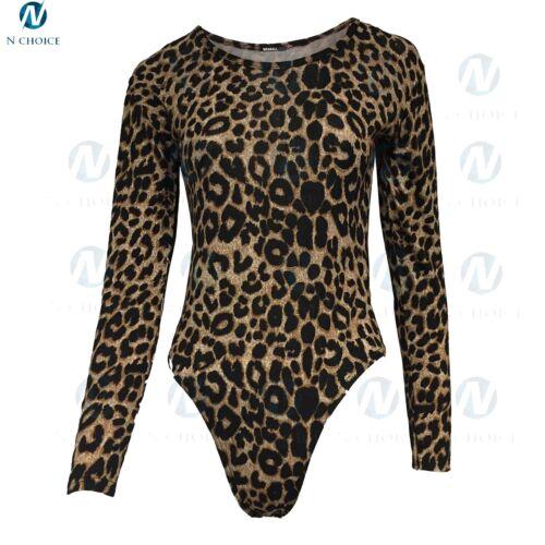 Womens Leopard Bodysuit Long Sleeve  Stretch Jersey Leotard Party Girls Top 8-20