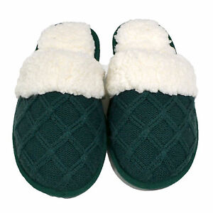c8650f62ee4801 Details about Victoria s Secret Slippers Fuzzy House Shoes Faux Fur Lined  Slides Knit Vs New