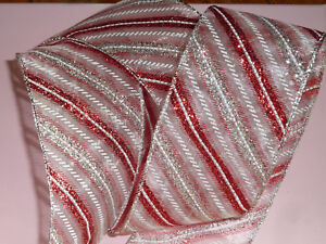 Details about Red Sheer Glitter Diagonal Stripe Ribbon Christmas Cakes Bows  Wreaths Decoration