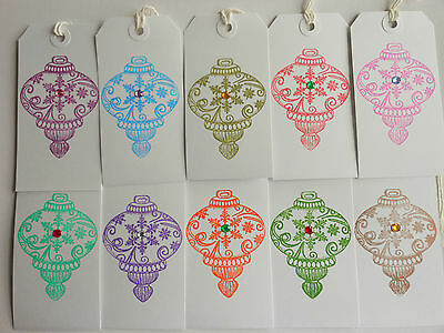 10  Mixed Jewel coloured Bauble Christmas  Gift Tags Coloured gems Hand Made