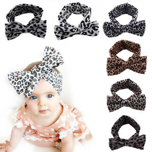 Baby-Kids-Girls-Leopard-Print-Floral-Bow-Knot-Headband-Elastic-Stretch-Hair-Band