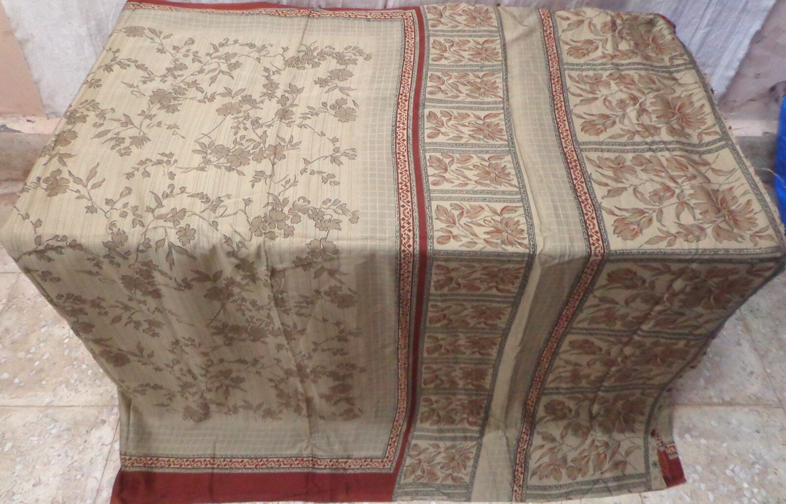 WEARABLE SILK BLEND ANTIQUE VINTAGE SARI SAREE 5 YD A1 386 Coffee CHRISTMAS GIFT