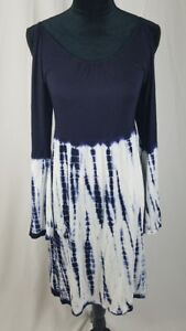 09a5f857 Felicity & Coco women S cold shoulder shift dress blue white tie dye ...