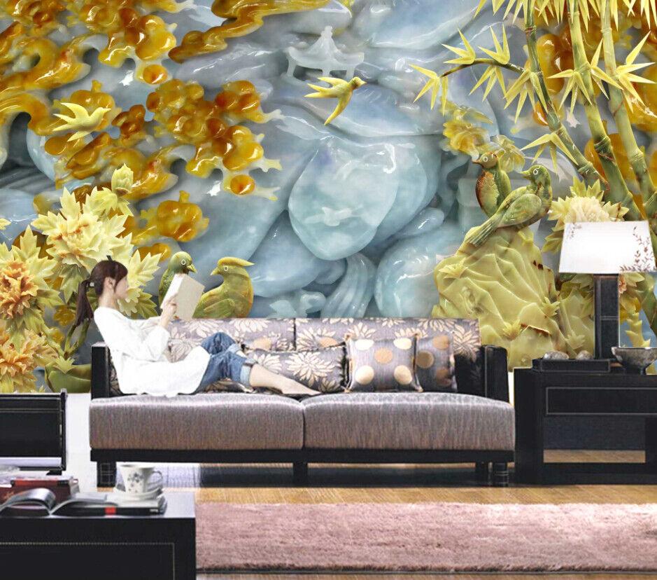 3D Stone Birds Tree 7 Wall Paper Murals Wall Print Wall Wallpaper Mural AU Lemon