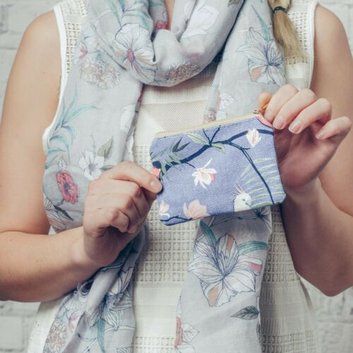 Blue Floral Print Canvas Coin Purse with Zip Fastening