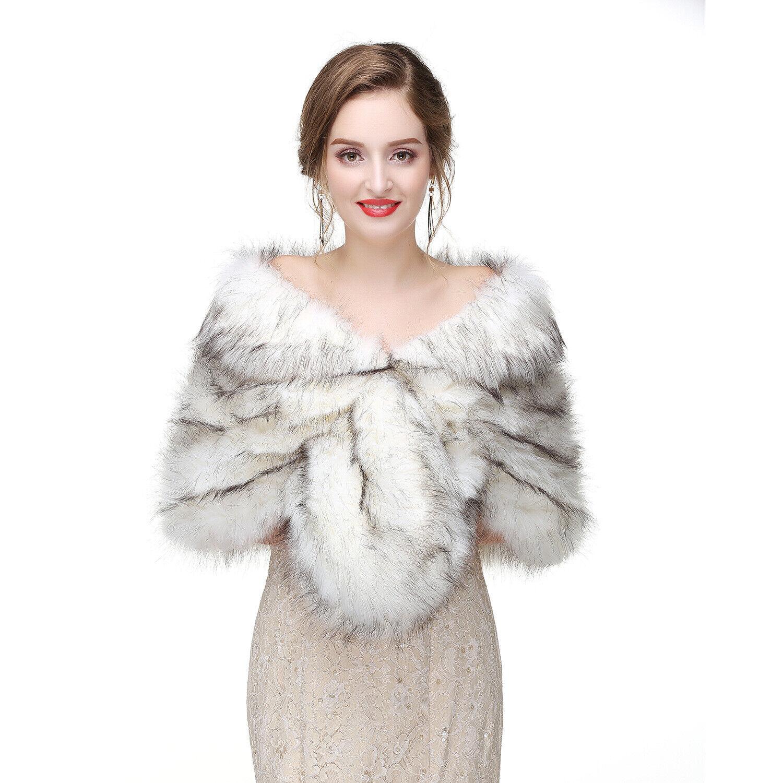 Cape Faux Fur Shawl Stole Wrap Shrug Scarf Party Warm Coat wedding I1 NEW Women