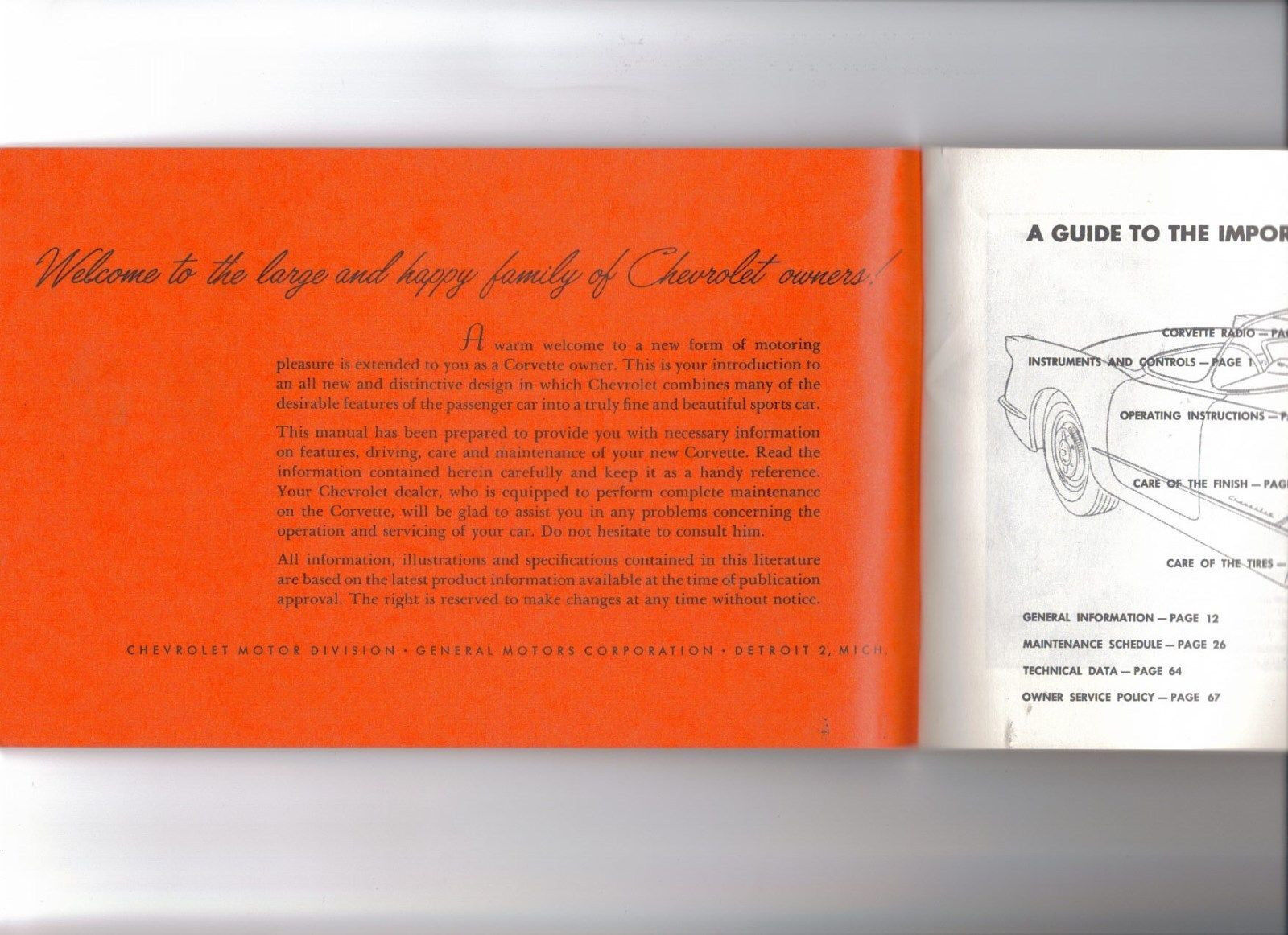 1953-1955 Corvette Factory GM Second Edition Owners Manual Early  Reproduction