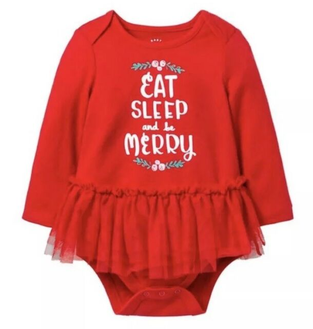 e16bb4702 Cat and Jack Baby girls Christmas romper outfit skirt Eat Sleep Be Merry 3-6